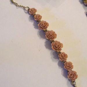 Vintage engraved flower lucite bracelet